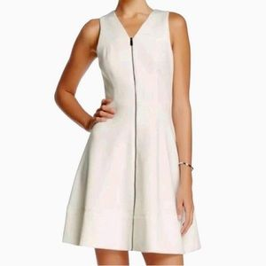 Vince Camuto Fit & Flare Front Zip White Dress